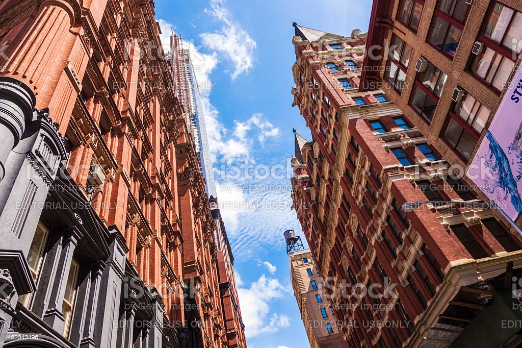 beautiful Green Street in Manhattan with old houses, New York stock photo