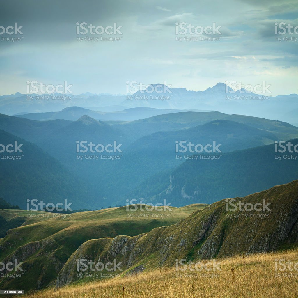 Beautiful green valley in the mountains after the rain stock photo