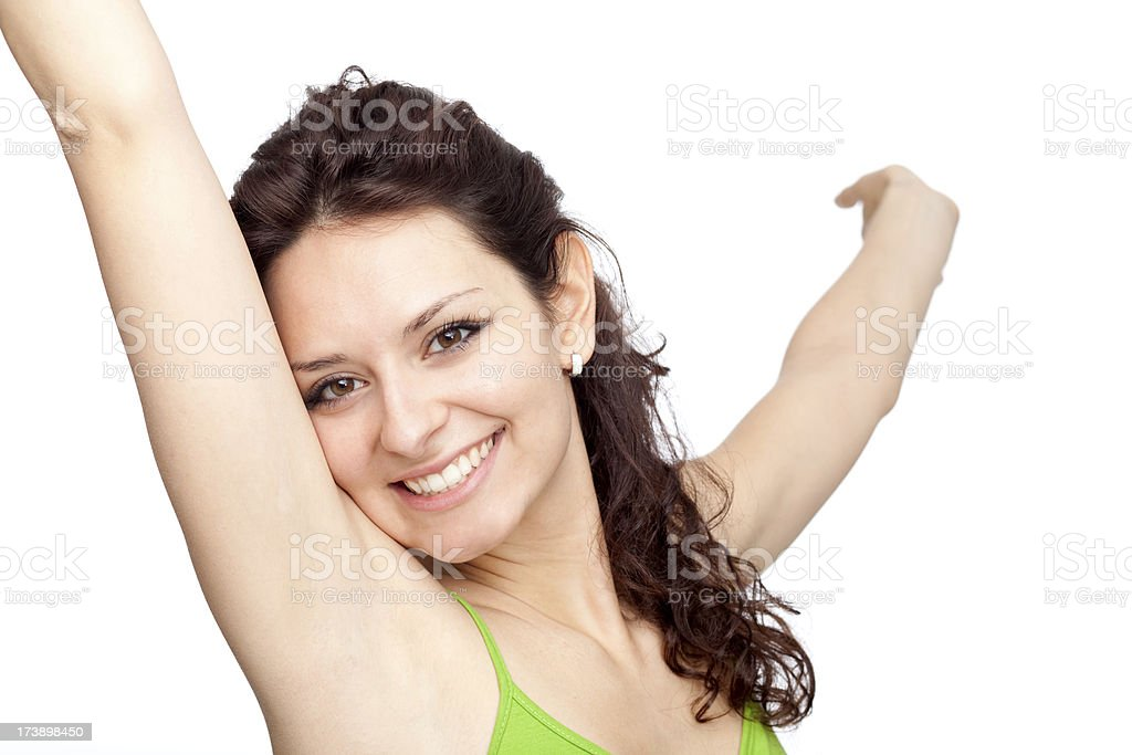 beautiful green young brunette girl expression  arms raised isol royalty-free stock photo