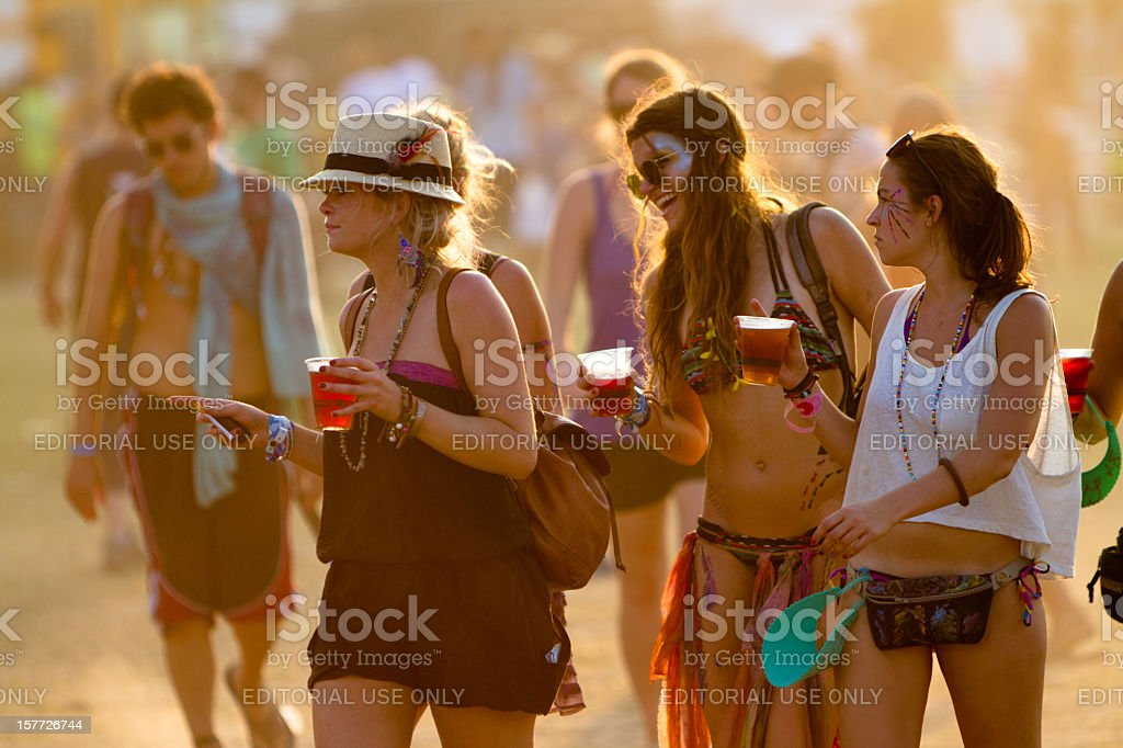 Beautiful group of women at a music festival stock photo