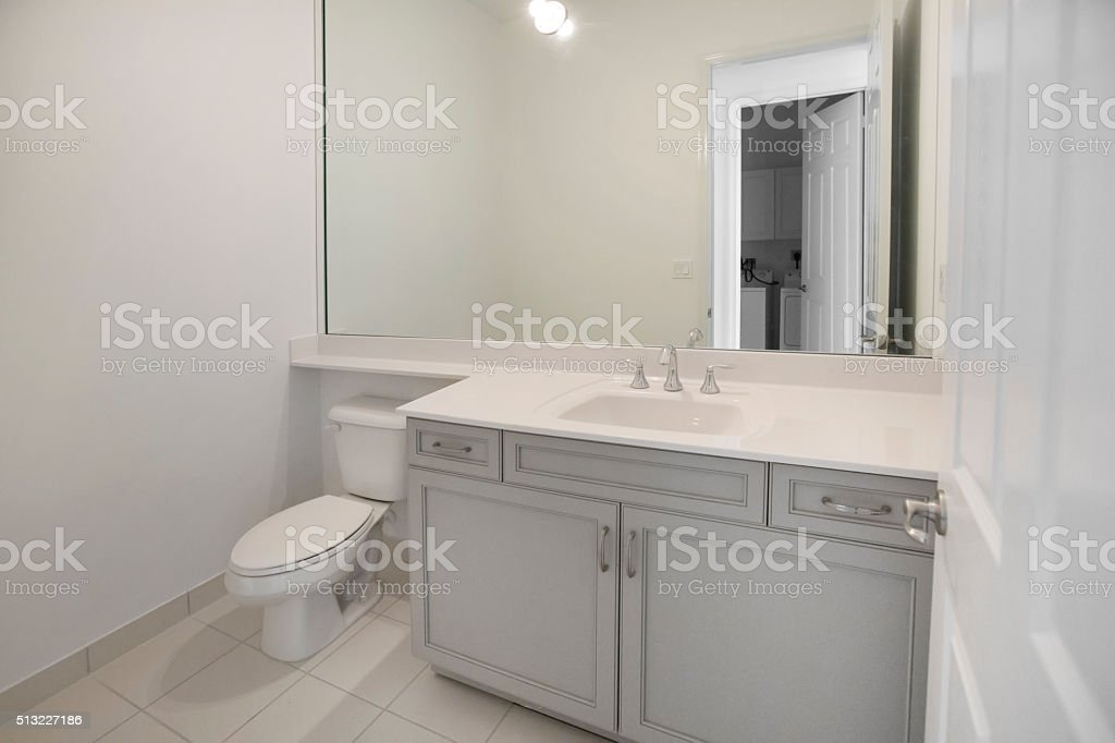 Beautiful guest bathroom in a new luxury home stock photo