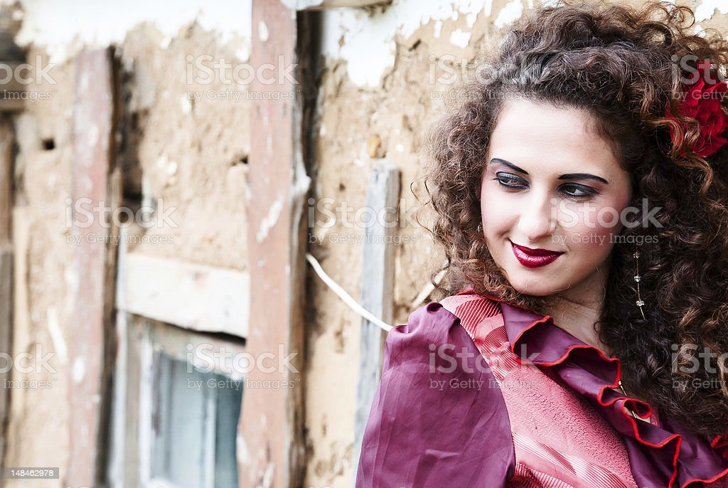 beautiful gypsy girl in red dress royalty-free stock photo