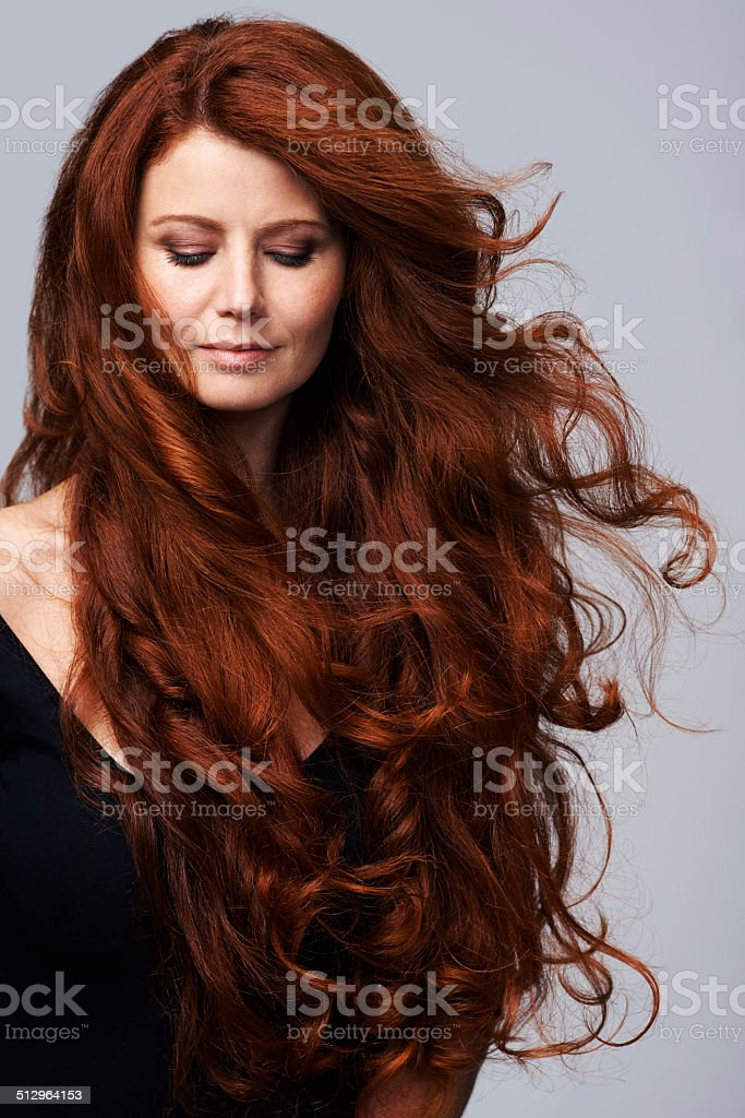 Beautiful hair is her greatest asset stock photo