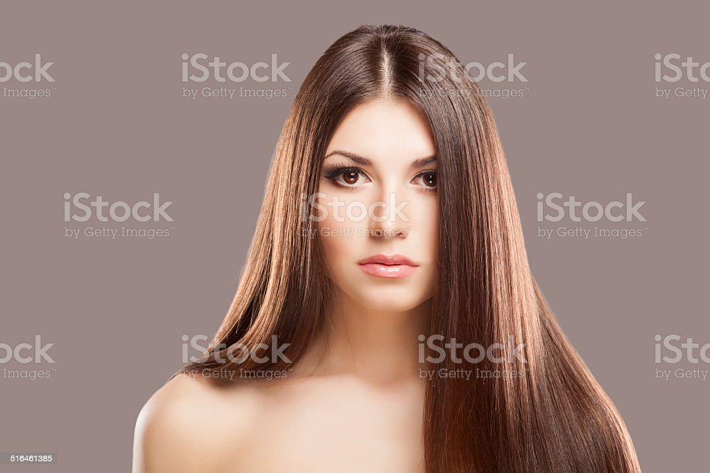 Beautiful hair, portrait of an young girl stock photo