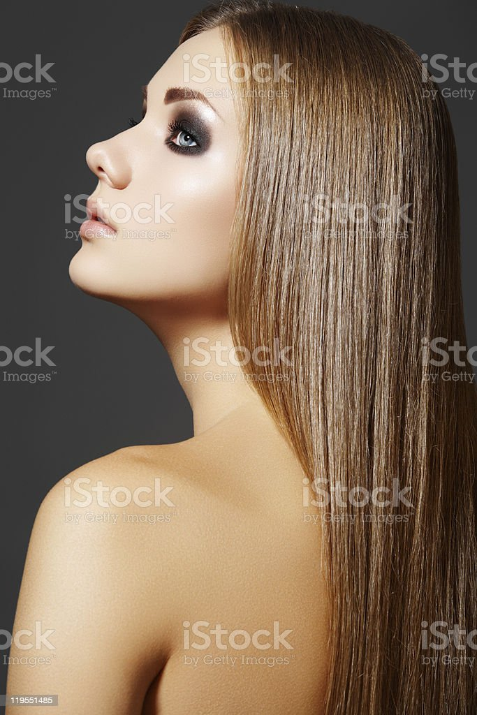 Beautiful hairstyle. Model with straight long hair royalty-free stock photo