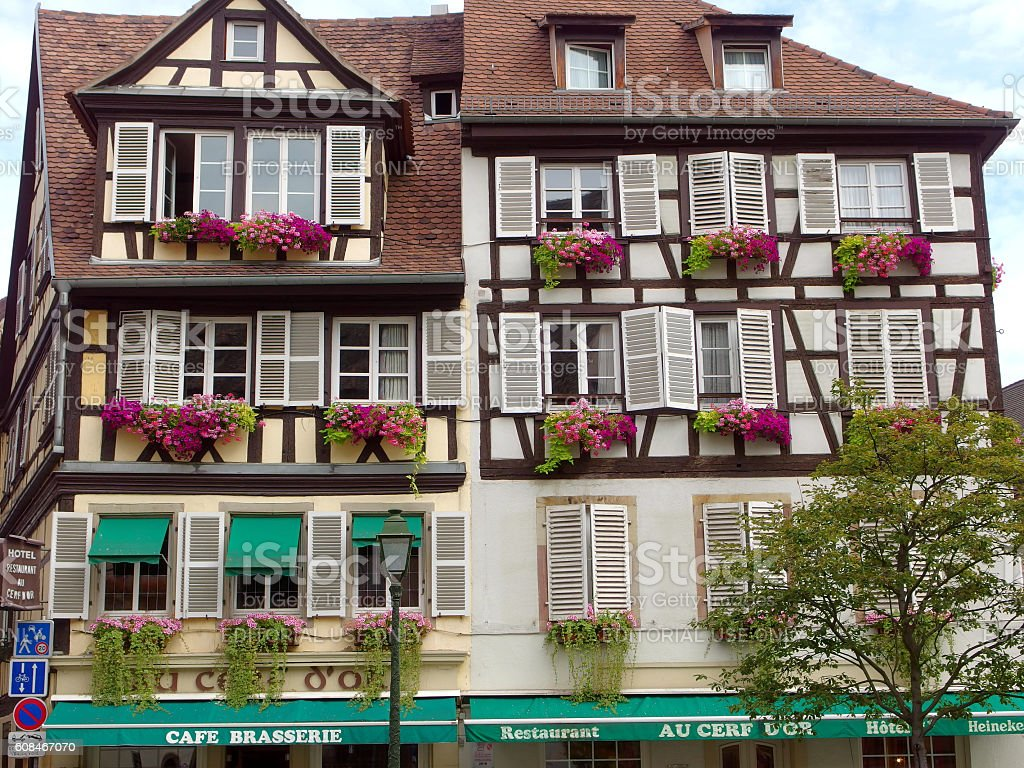 Beautiful half-timbered house in the old town of Strasbourg, Alsace stock photo
