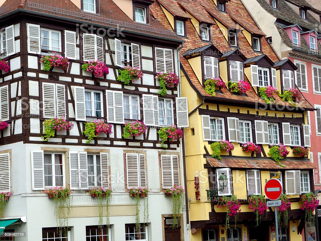 Beautiful half-timbered houses in the old town of Strasbourg, Alsace stock photo