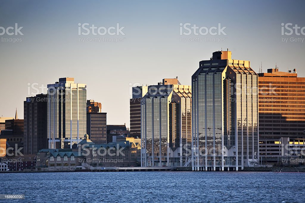 Beautiful Halifax waterfront near sunset  stock photo