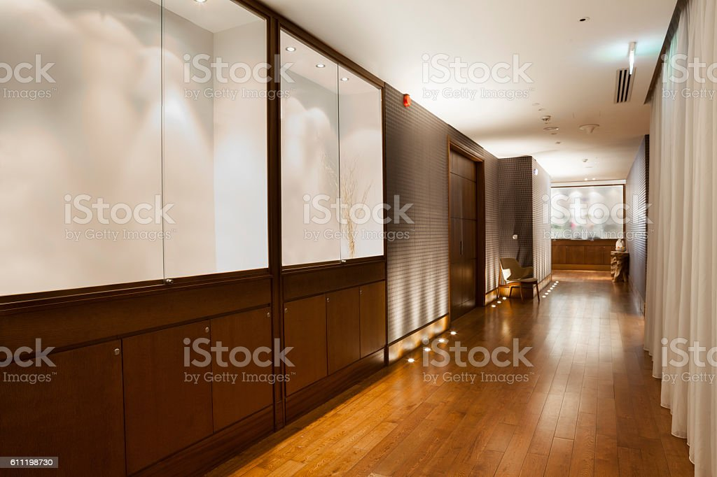 beautiful hall with wooden flooring stock photo