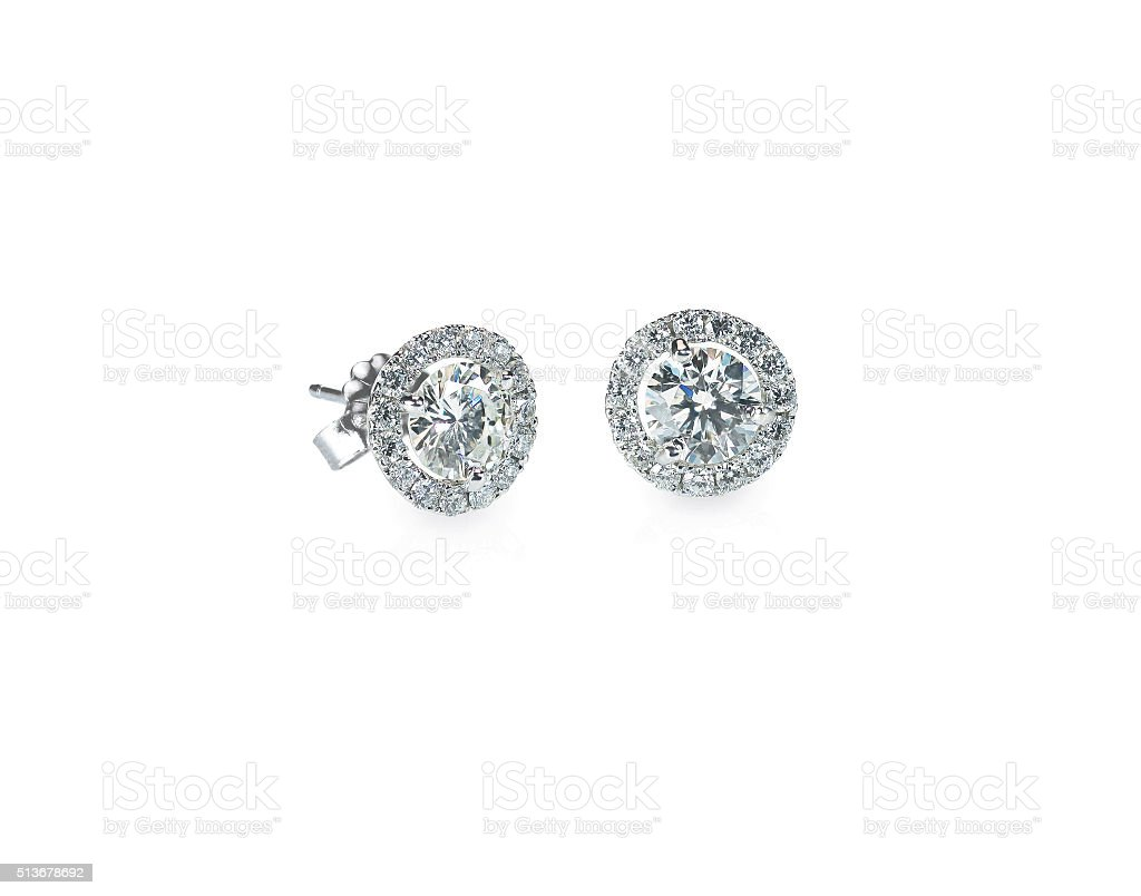 Beautiful Halo Diamond Stud earrings stock photo