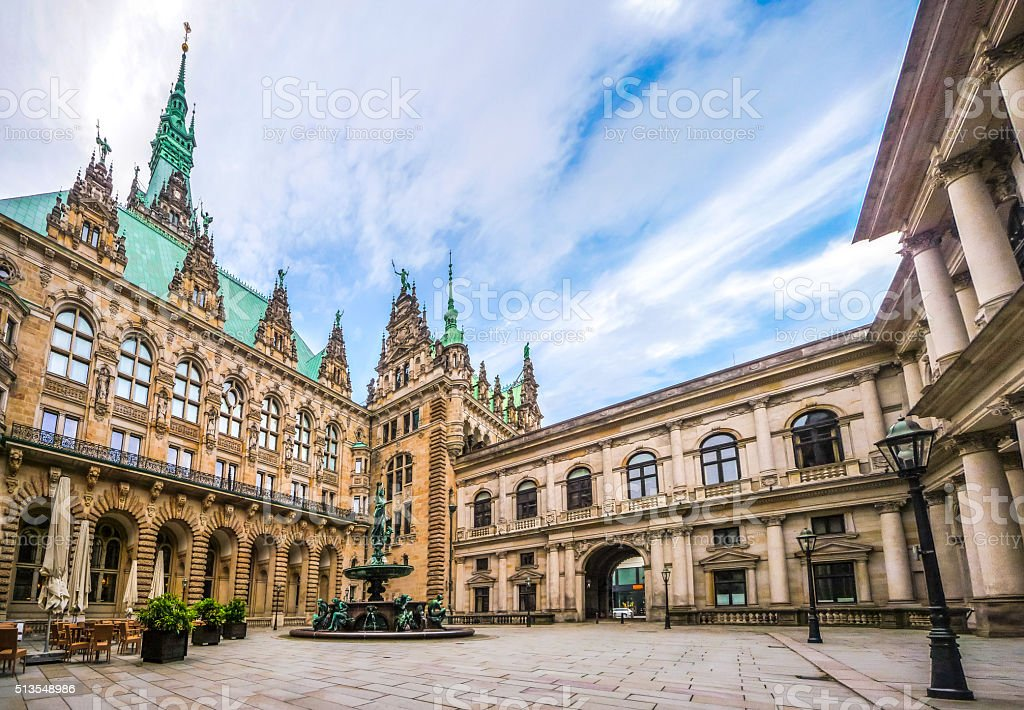 Beautiful Hamburg town hall with Hygieia fountain from courtyard, Germany stock photo