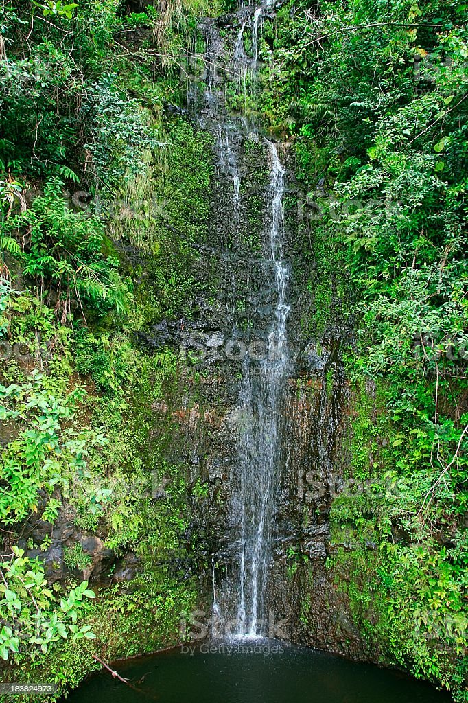 Beautiful Hana Maui Hawaii Waterfall stock photo