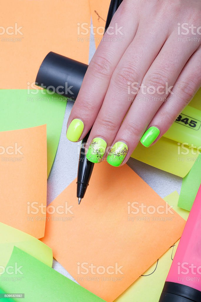 Beautiful hand with manicure stock photo