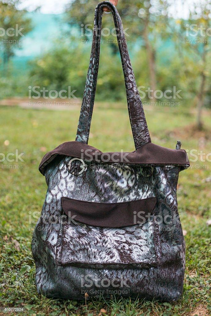 Beautiful Handmade Black And Grey Handbag stock photo