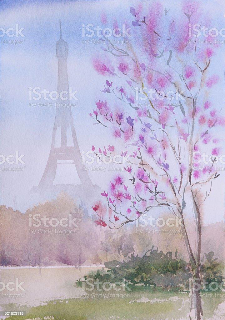 beautiful  handpainted watercolor Paris landscape stock photo