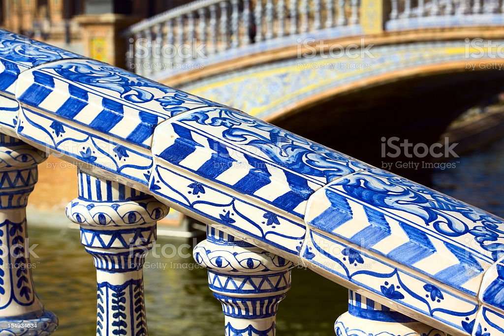 Beautiful handrail of bridge Plaza de España in Sevilla royalty-free stock photo