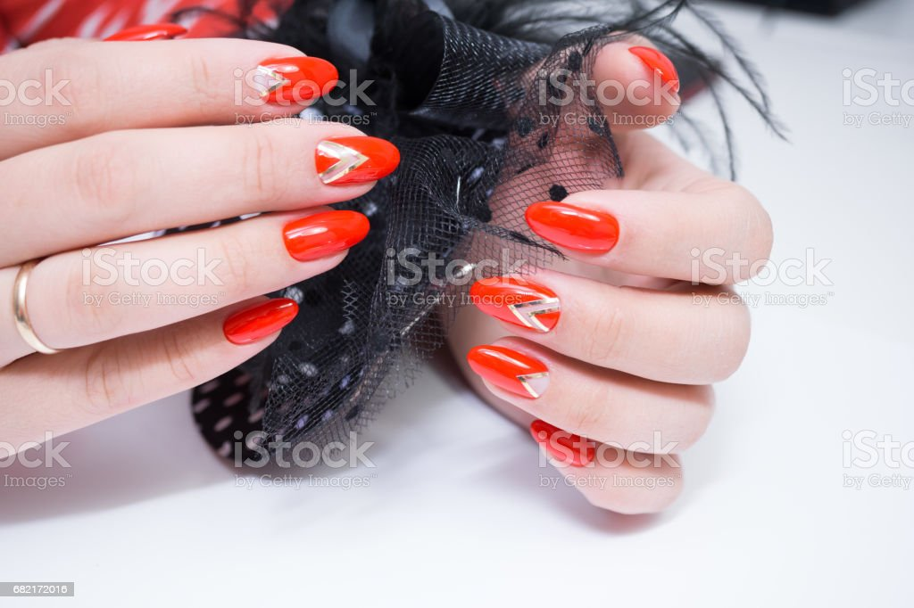 Beautiful hands with stylish manicure. Women have natural nails.