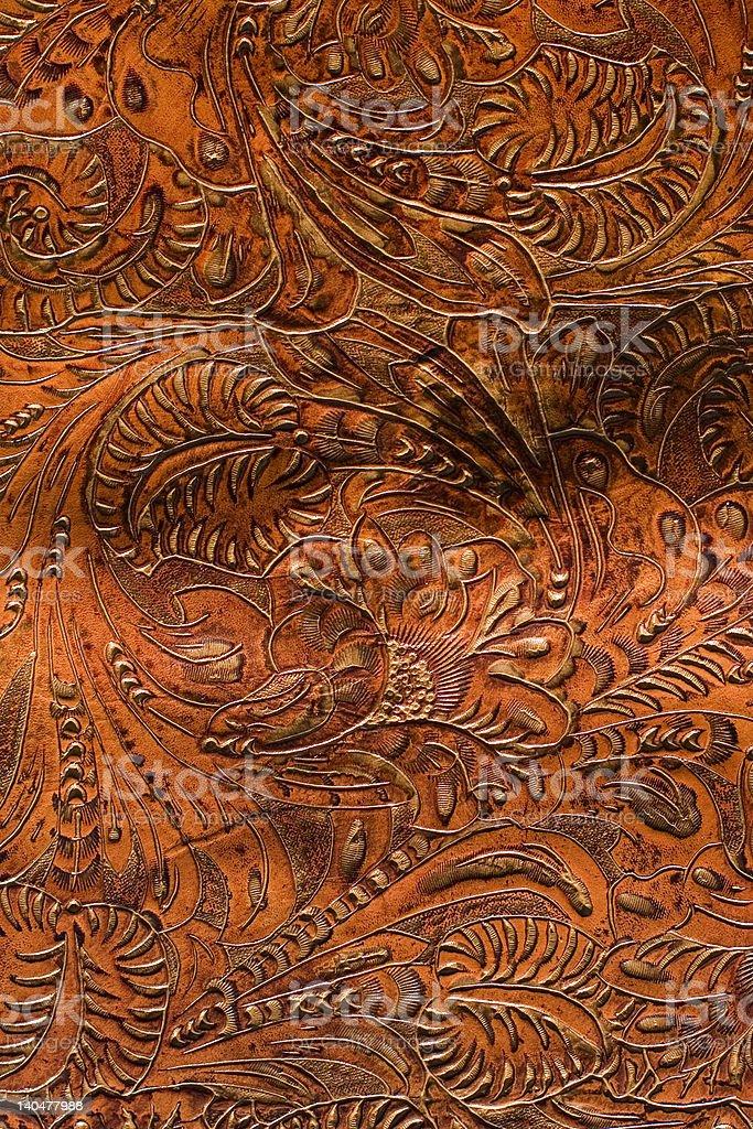 Beautiful Hand-Tooled Saddle Leather royalty-free stock photo