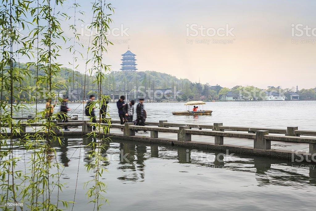 beautiful hangzhou west lake scenery in spring stock photo