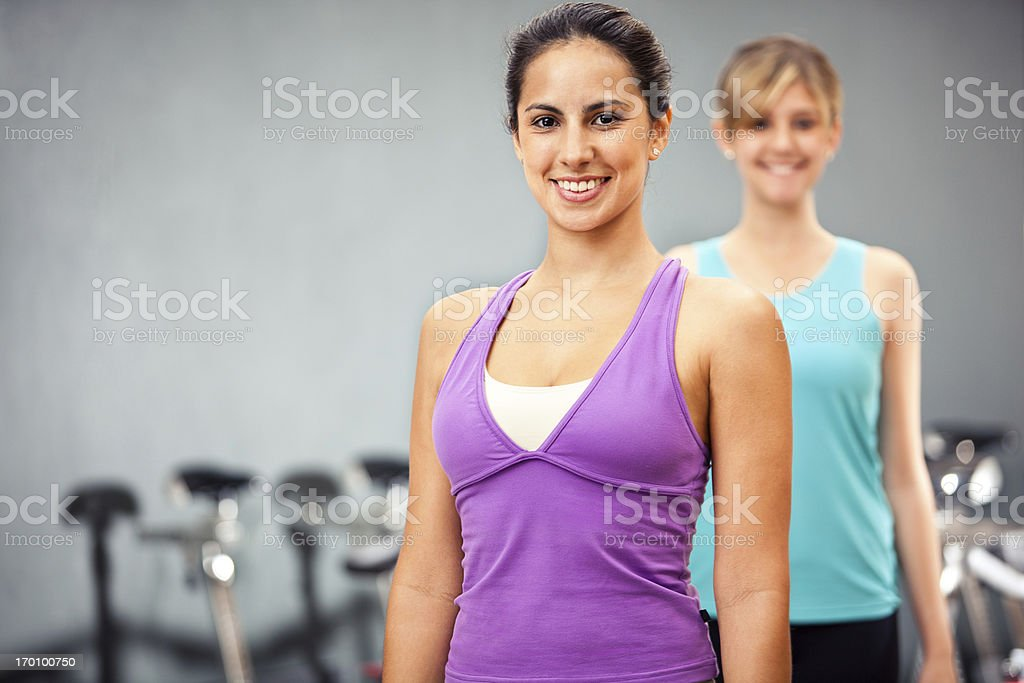 Beautiful happy and young women at the fitness club. royalty-free stock photo