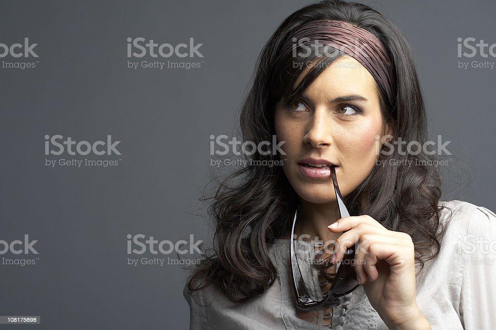 Beautiful happy brunette royalty-free stock photo