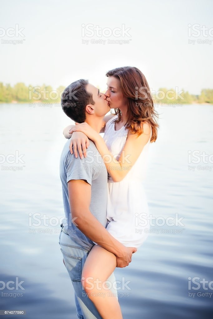 Beautiful happy couple in love stock photo