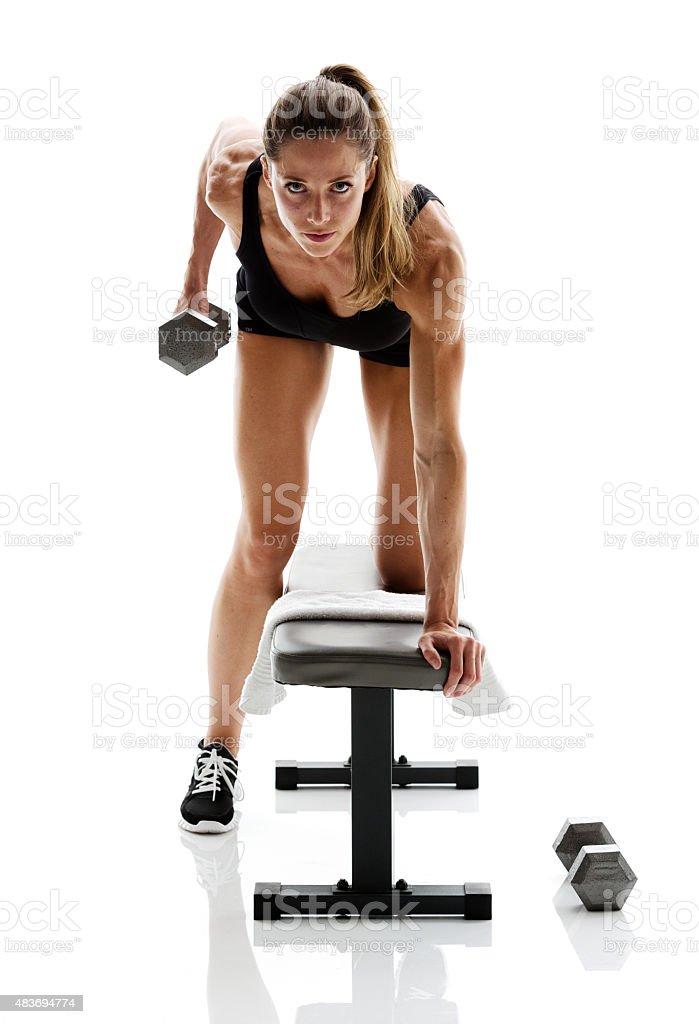 Beautiful happy exercising stock photo