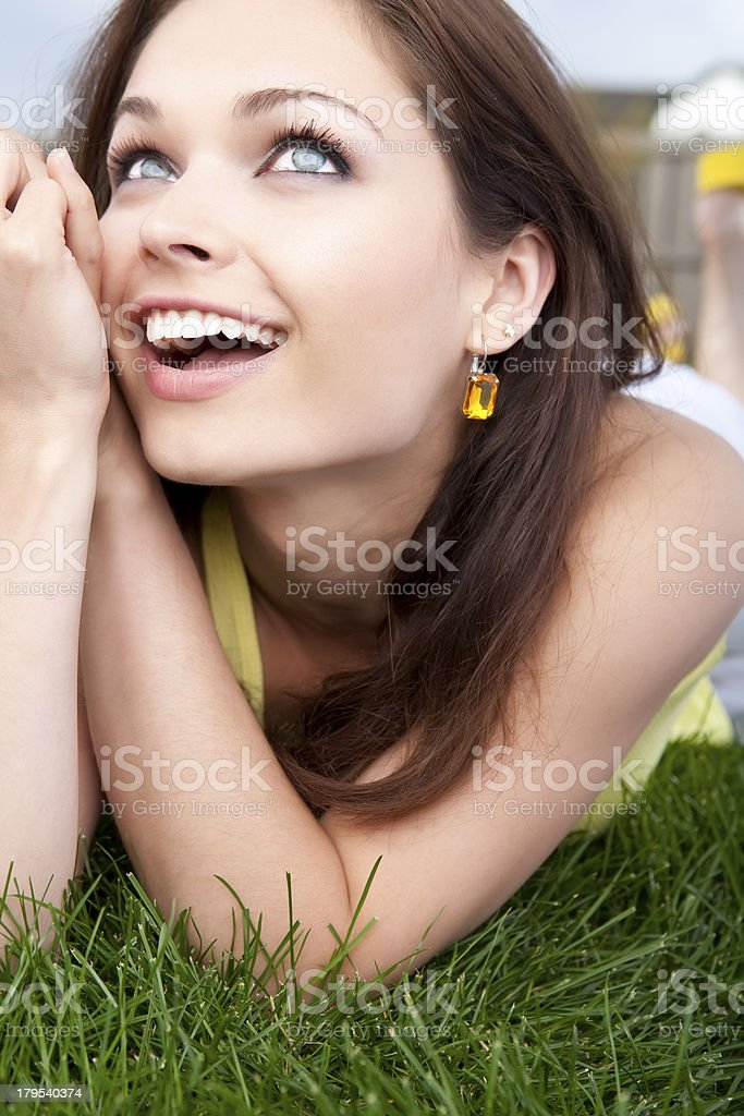 Beautiful happy female summer portrait royalty-free stock photo