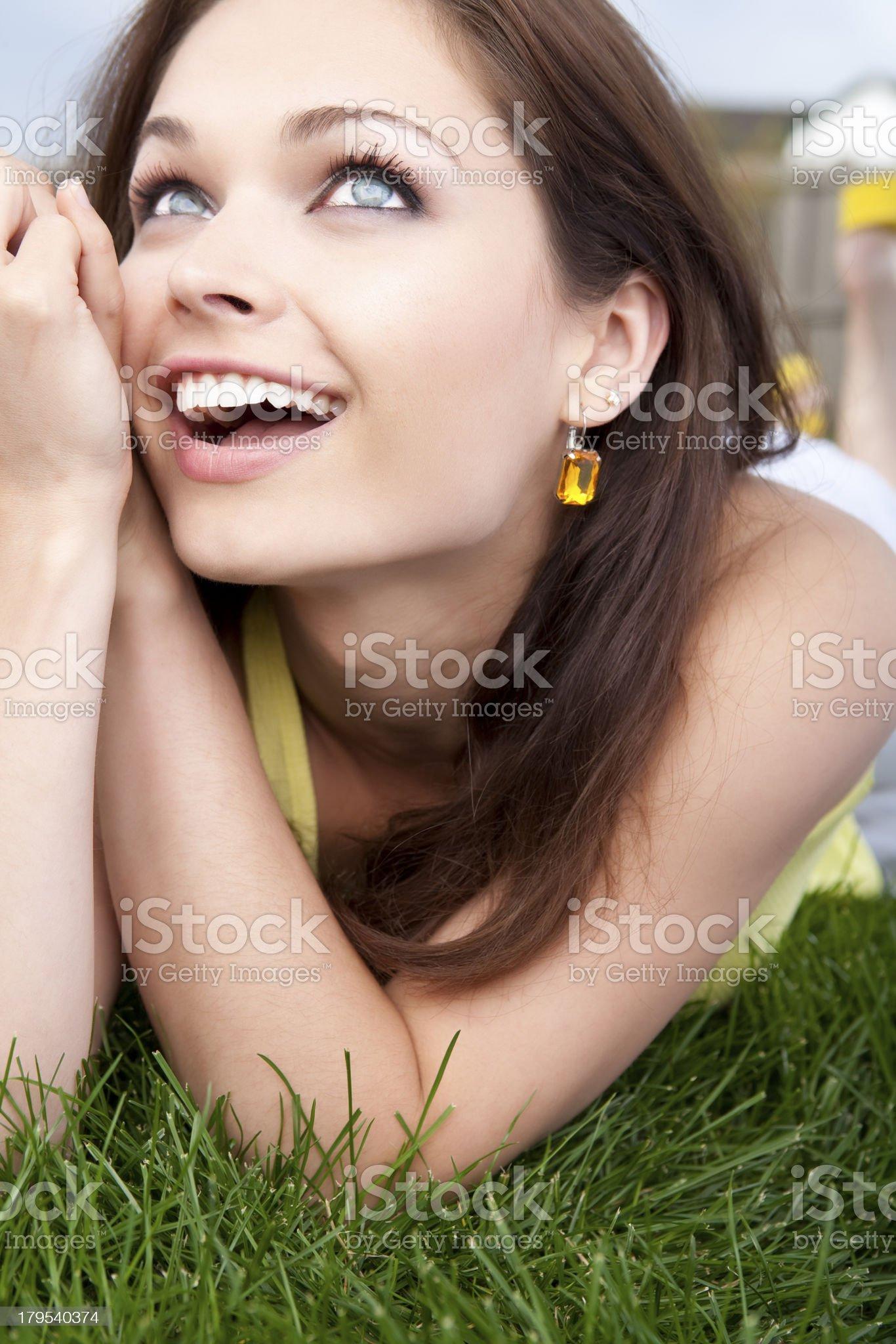 Beautiful happy female summer portrait royalty-free stock photo