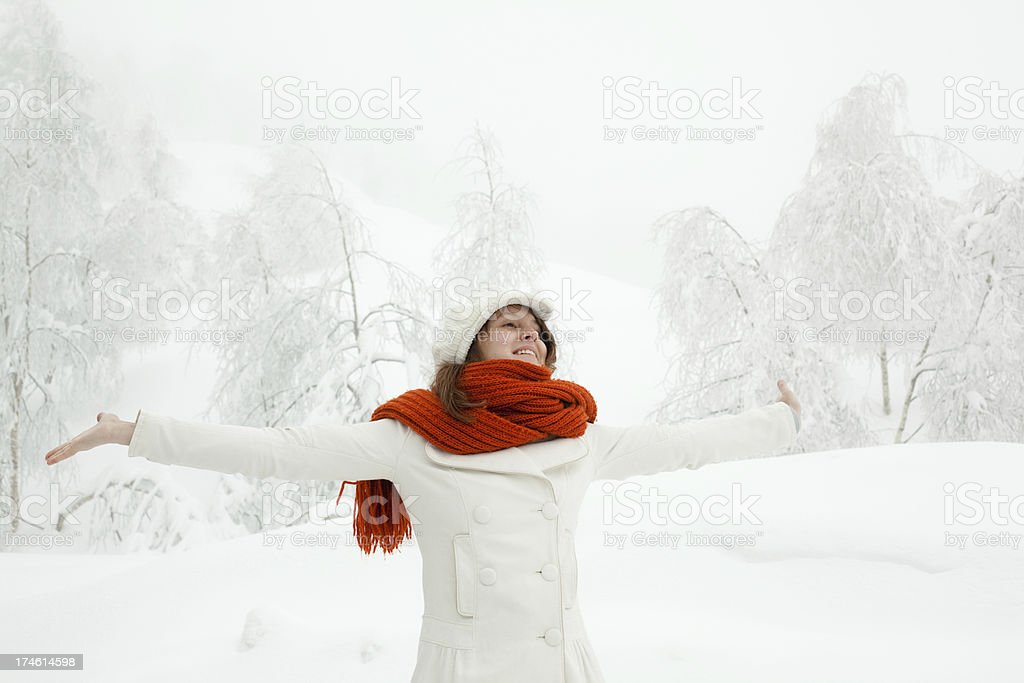 beautiful happy girl freedom smile portrait winter outdoor with royalty-free stock photo