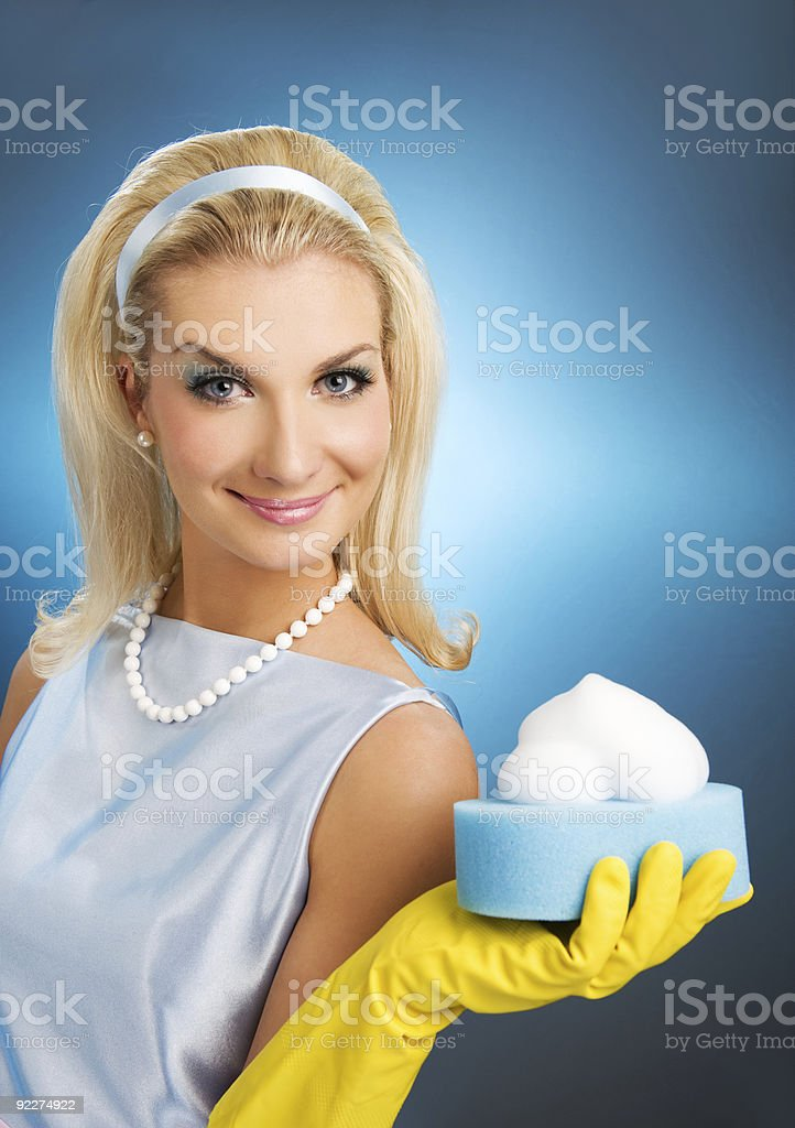 Beautiful happy housewife. Retro portrait stock photo