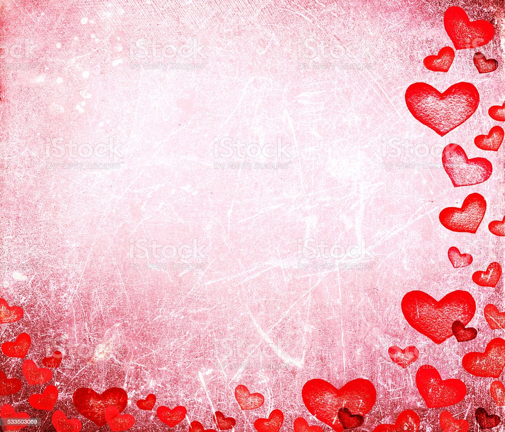 Beautiful  Happy Valentine's day Card with red hearts on vintage stock photo