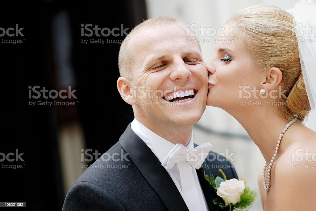 Beautiful happy wedding couple royalty-free stock photo