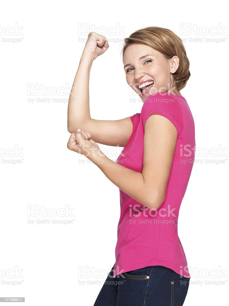 Beautiful happy woman celebrating success  being a winner royalty-free stock photo