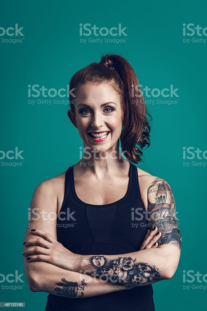 Beautiful happy woman with big smile stock photo