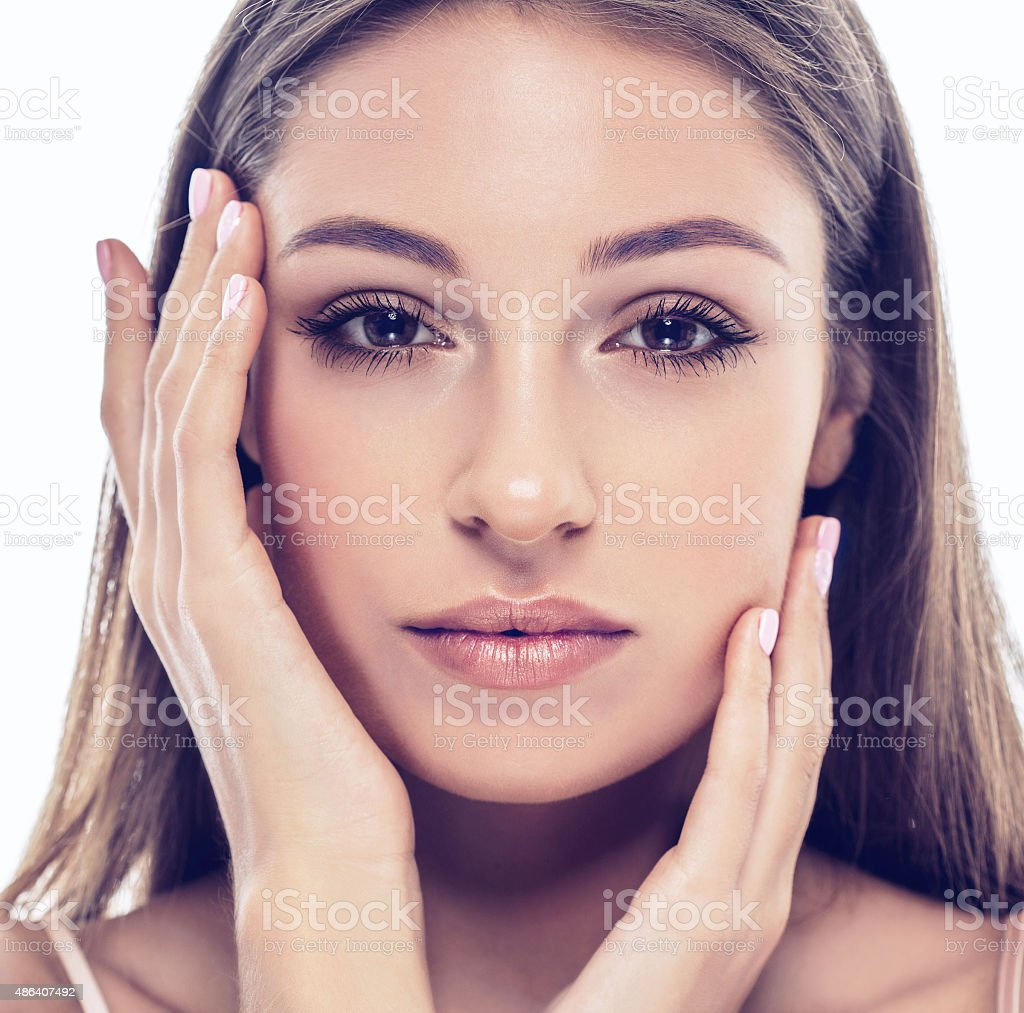 beautiful happy young woman portrait face with sexy lips stock photo