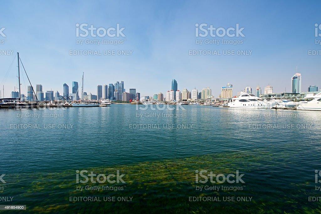 Beautiful harbor skyline of Qingdao stock photo