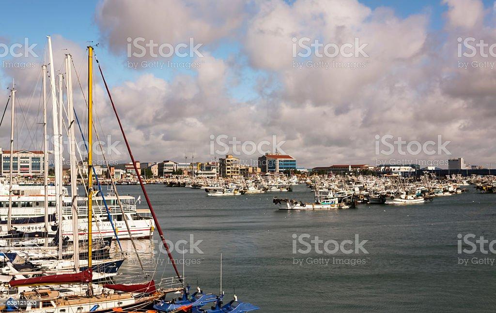 Beautiful harbor with yachts stock photo