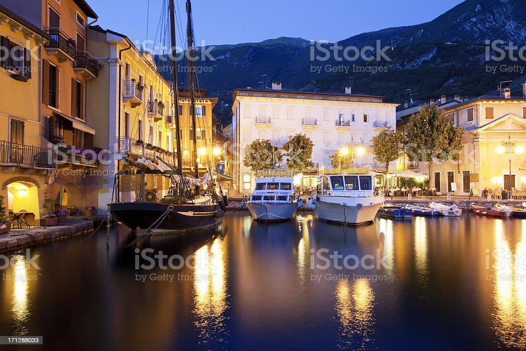 Beautiful Harbour Malcesine at Night, Lake Garda, Italy stock photo