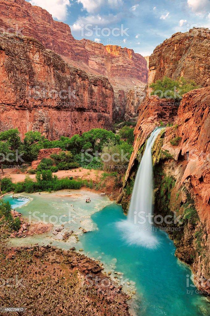 Beautiful Havasu Falls, Supai, Arizona, United States stock photo