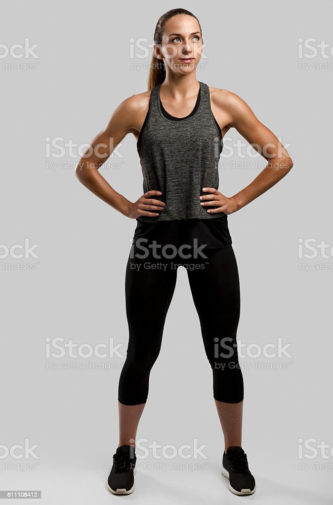 Beautiful healthy fitness woman stock photo