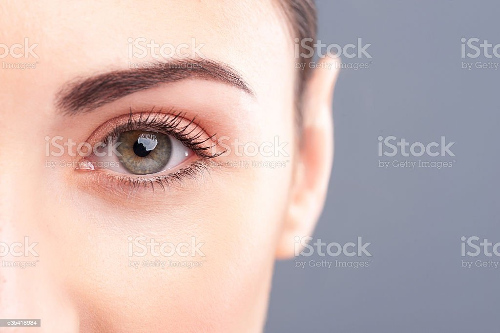 Beautiful healthy girl is staring at something stock photo