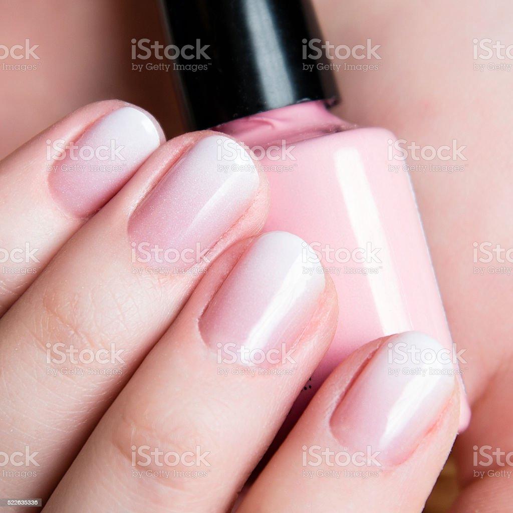 Beautiful healthy natural nails. Beauty long woman nails close up stock photo