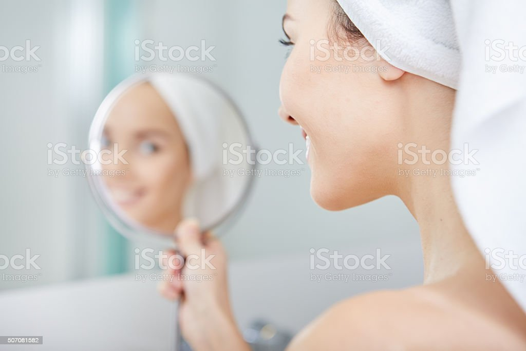 beautiful healthy woman and reflection in the mirror stock photo