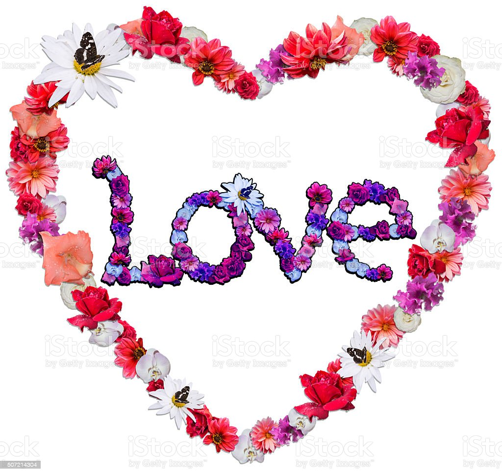 Beautiful heart with legend made of different flowers stock photo
