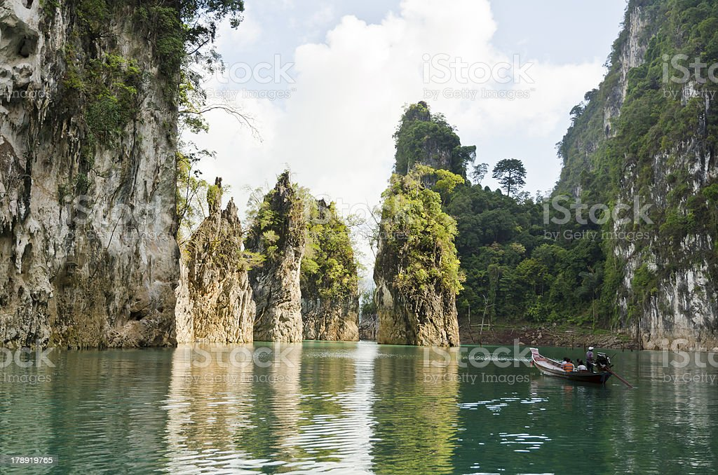 Beautiful high mountains and green river ( Guilin of Thailand ). stock photo