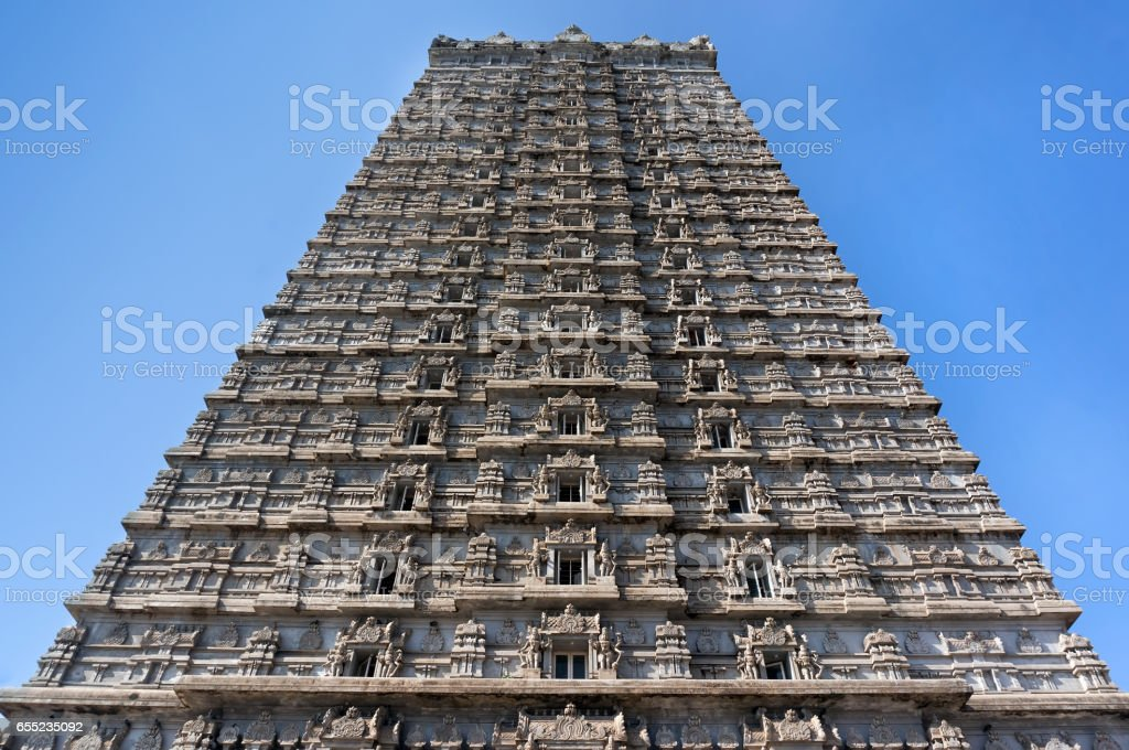 Beautiful high tower, Raja Gopuram Tower. Murudeshwar. Karnataka, India. Attraction and Gokarna excursion from Goa. stock photo