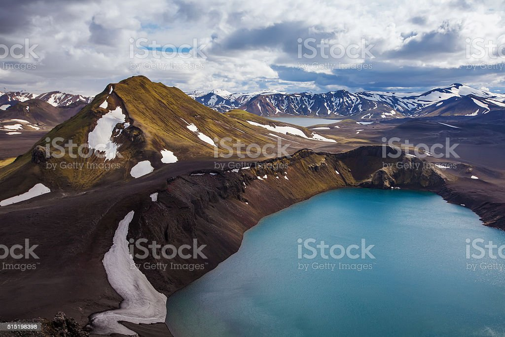 Beautiful highland iceland blue volcano lake stock photo