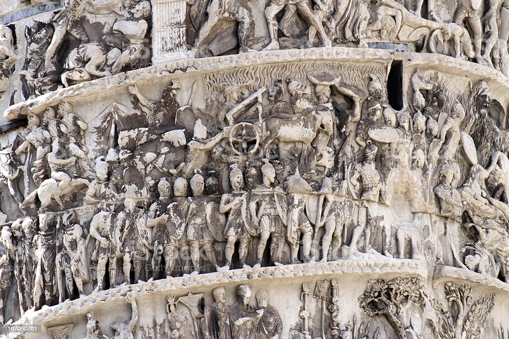 beautiful high-reliefs sculpted in Trajan's column stock photo