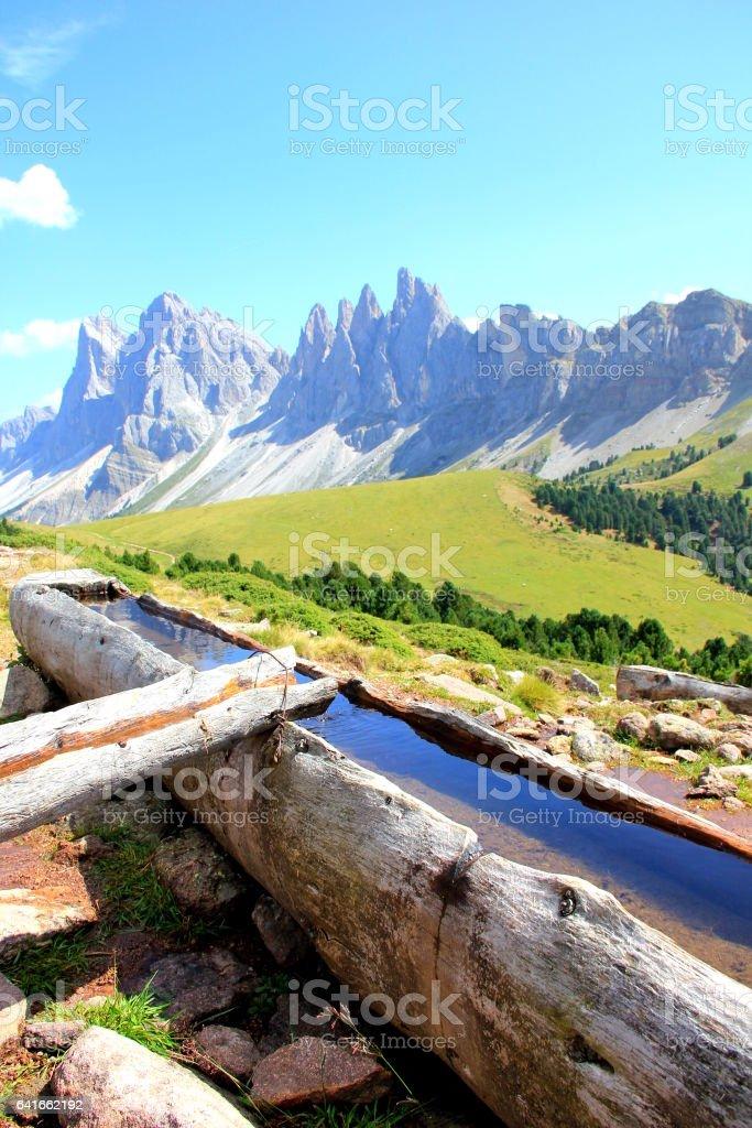 Beautiful hike in mountain landscape stock photo